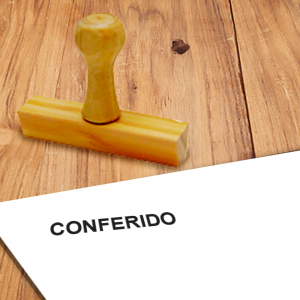 Carimbo de Madeira CONFERIDO